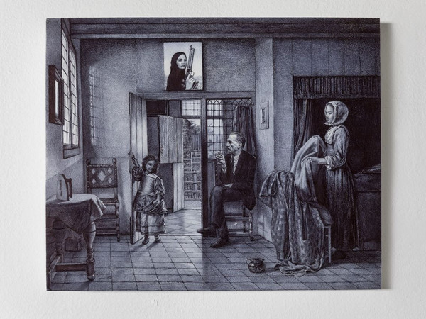 Giuseppe Stampone, Maria Crispal in her country house, 2019, bic pen on cementite on wooden support, 29 x 35 x 4 cm.
