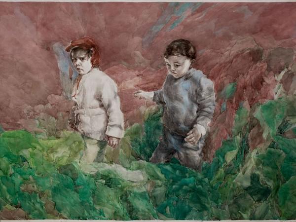 Iulia Ghiță, Milk, 2015, aquerello su carta, 250 x 150 cm.