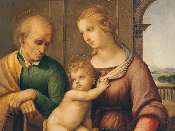 Raffaello Sanzio, Sacra Famiglia, 1506-1507 circa. Olio e tempera su tela, 72,5 x 56,5 cm. San Pietroburgo, Museo Statale Ermitage