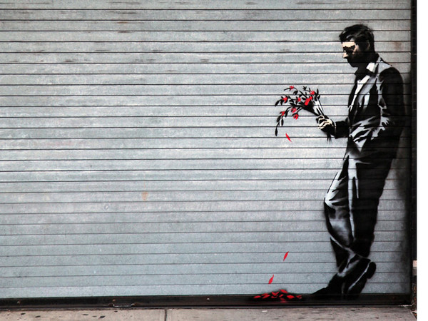 Banksy, Waiting in vain... at the door of the club, New York