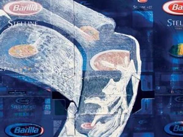 Barilla 1 (particolare), collage e smalto su tela, 2010, cm. 90x90
