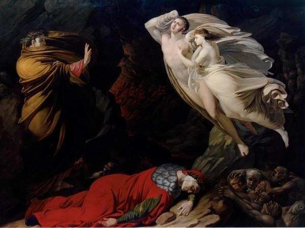 Nicola Monti (Pistoia, 1780 - Cortona, 1864), Francesca da Rimini nell'Inferno dantesco, 1810, olio su tela, 168 x 121 cm cm Firenze, Gallerie degli Uffizi