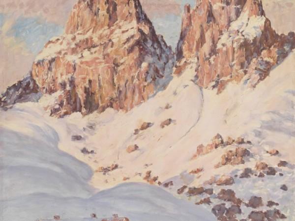 Fritz Osswald, Sellahaus mit Sassolungo, olio su tavola, 77,5x70,5 cm