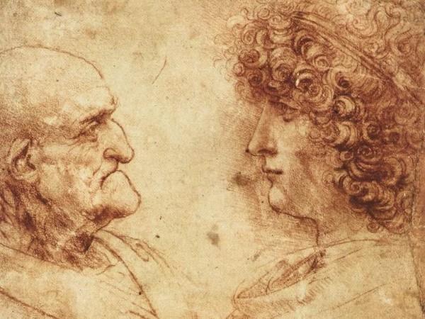 Leonardo da Vinci, Testa di Vecchio con Giovane, disegno