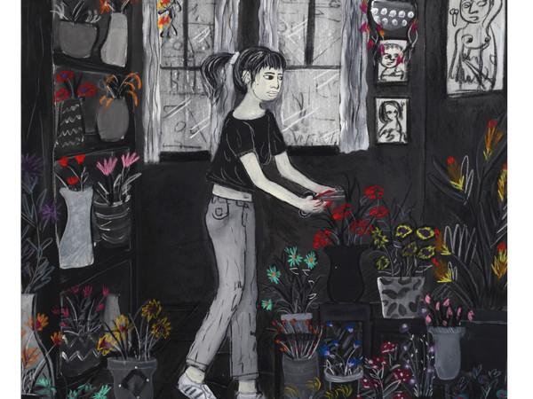Andrea Fiorino, Cura, 2018, tecnica mista su tela, 123x96 cm.