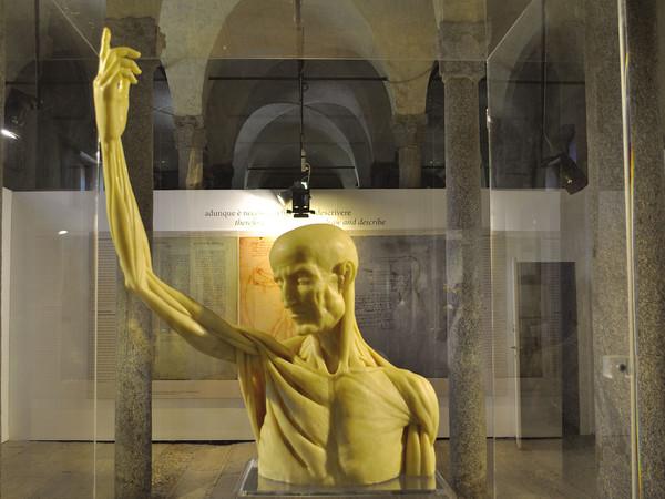 Scultura in ceroplastica, busto con braccio alzato, ideazione Paola Salvi, realizzazione Moreno Vezzoli