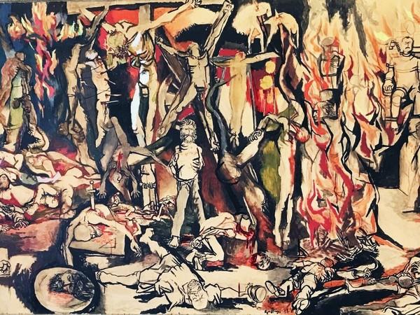 Renato Guttuso, I martiri, 1954, olio, tempera, inchiostro di china su carta intelata, 162 x 300 cm.