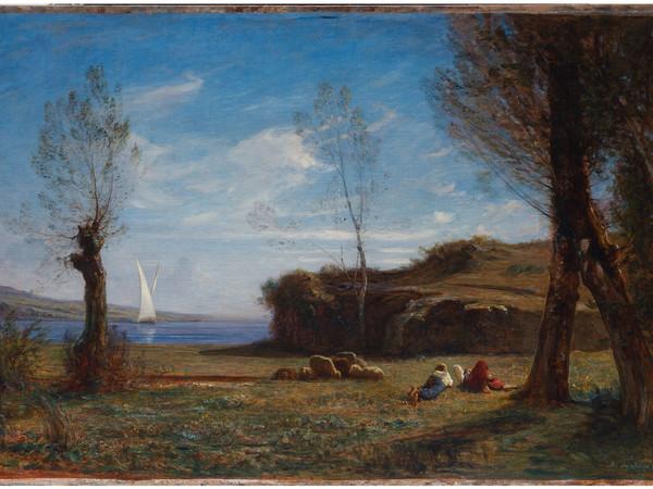 Antonio Fontanesi, Aprile. Sulle rive del lago del Bourget, in Savoia, olio su tela, 102x153 cm. Collezione privata
