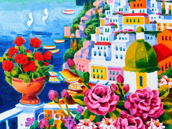 Athos Faccincani, Vaso di gerani rossi a Positano, 2019, olio su tela, 50x50 cm.