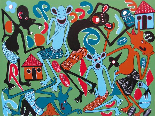 George Lilanga, Amici che si divertono insieme, 2003, acrilico su tela, 80x104 cm.