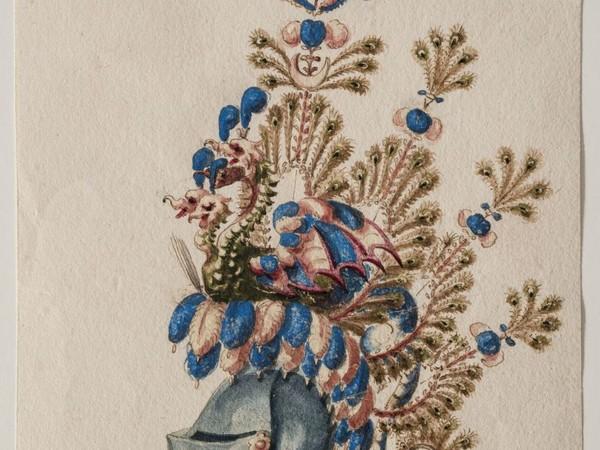 Giovanni Battista e Bartolomeo Coriolano, <em>Studi per cimieri piumati e barde da cavallo</em>, penna e acquerello. Bologna, Pinacoteca Nazionale, Gabinetto Disegni e Stampe<br />