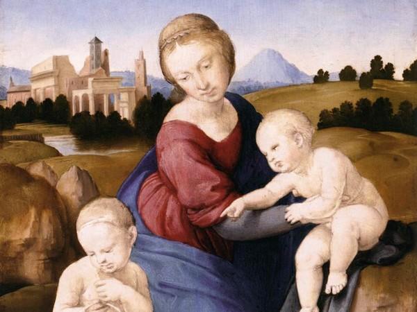 Raffaello Sanzio (Urbino 1483 - Roma 1520), <em>Madonna col Bambino e San Giovannino (Madonna Esterhazy)</em>, 1508 ca., Tempera e olio su tavola, 29 x 21.5 cm, Museum of Fine Arts, Budapest | Public Domain<br />
