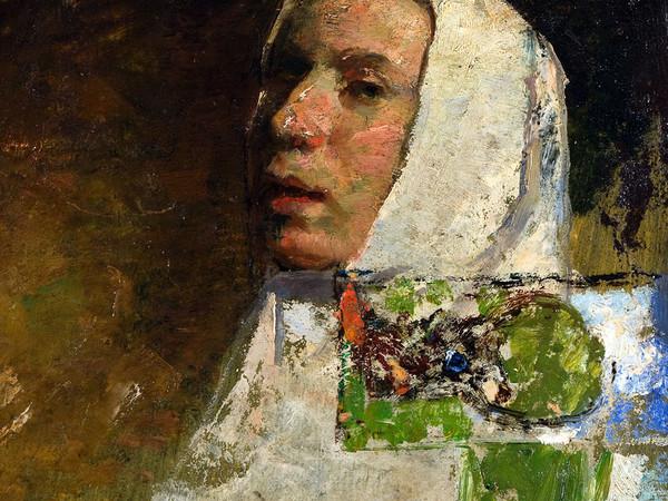 Carlo Fornara, Autoritratto a ventidue anni, con panno bianco, 1893, 30,5x24 cm, olio su frammenti di carta incollati a tavola