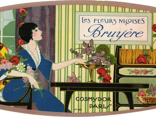 Les fleurs niçoises Bruyère,1930-40, Pubblicità profumeria Cosmydor, Parigi. Etichetta per scatola di saponi profumati