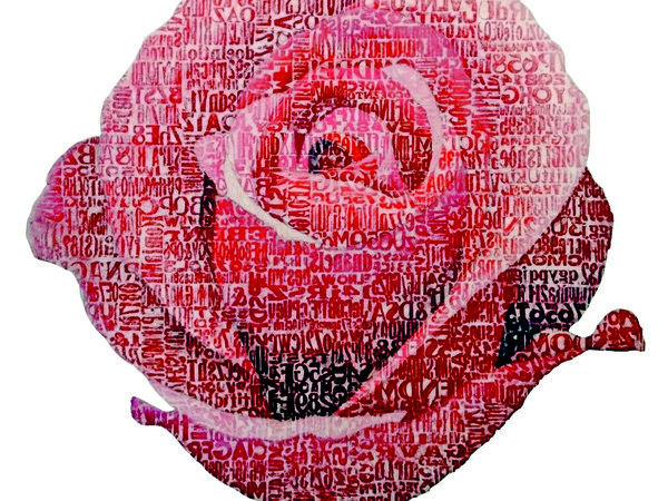 Giorgio Milani, Una rosa sola è tutte le rose, omaggio a Rainer Maria Rilke, frottage di colori a olio su tela, 150x150cm.
