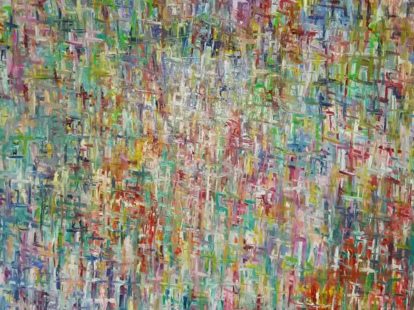 Guido Rocca, Il futuro, 2017, olio e acrilico su tela, 100x100 cm.