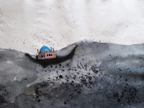 Maryam Rasthalam, Floating Dome, ink and paper collage on indian paper, 56x76 cm, 2016