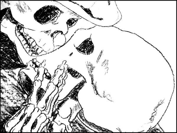 Leandro Lottici, Il Bacio, disegno (dettaglio)