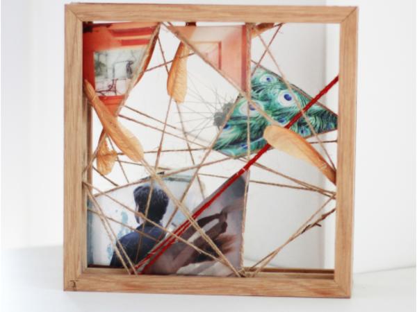 Ambra Tonini, Viaggio N.9, 2016-2017. Fotografie analogiche stampate su carta velina, semi, foglie, juta, legno, fili di cotone, cm. 25x25