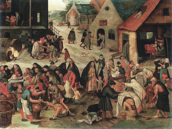Pieter Brueghel il Giovane, <em>Le sette opere di misericordia</em>, 1616, Olio su tavola, 44×57.5 cm, Collezione privata, Belgio