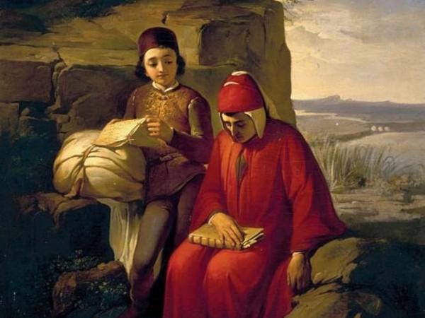 <span><strong>Annibale Gatti</strong><em>, Dante in esilio</em>, 1854, olio su tela, 80x70 cm. Firenze, Galleria degli Uffizi</span>