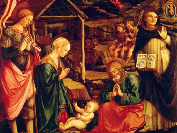 Filippo Lippi, Natività fra San Giorgio e San Vincenzo Ferrer, 146,5x156,5 cm, Museo Civico, Prato