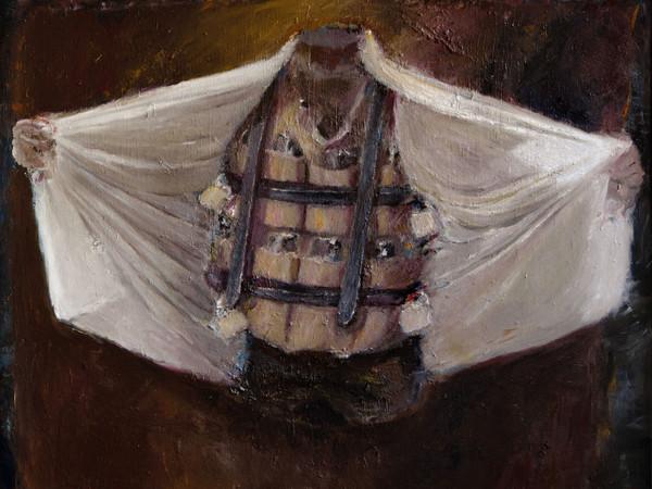 Pietro Geranzani, L'Europa durante la pioggia II, Farfalla, 2017, olio su tela, cm. 170x170