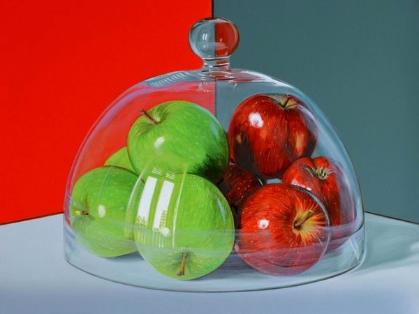 Pietro Alessandro Trovato, Mele verdi e rosse sotto vetro, olio su tela, cm. 50x40, 2017