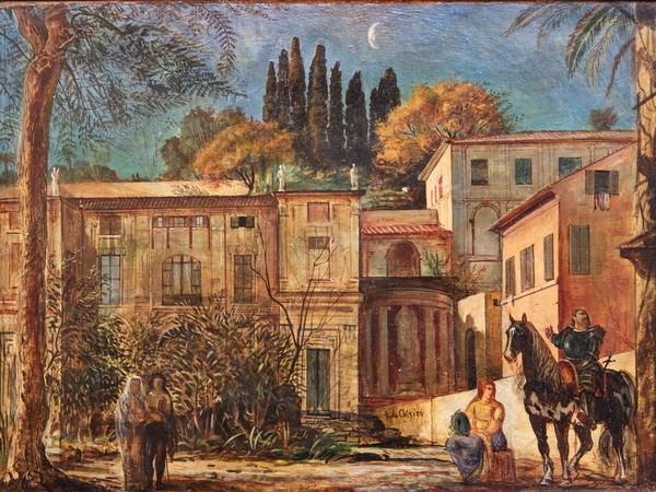 Giorgio de Chirico, La partenza del cavaliere ,1923. Olio su cartone, 49 x 67 cm. Roma, collezione privata
