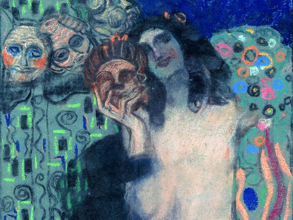 Jsef Maria Auchentaller, Allegoria 19 (Donna con maschere), 1904, Archivio Auchentaller