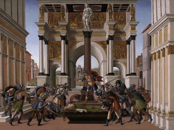 Sandro Botticelli, <em>Storia di Lucrezia</em>,1505 ca., tempera e oro in conchiglia su tavola, cm 83,3 x 176,8, Boston, Isabella Stewart Gardner Museum<br />