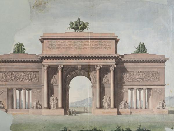 Progetto per un arco di trionfo in onore dell'imperatore Napoleone, acquerello su carta, Museo Napoleonico (inv. MN 3359)