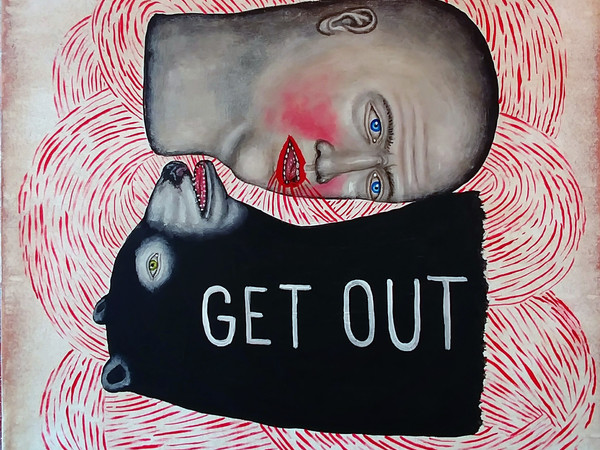 Fred Stonehouse, Get out, 2017, acrylic on wood, 30,5x30,5 cm.