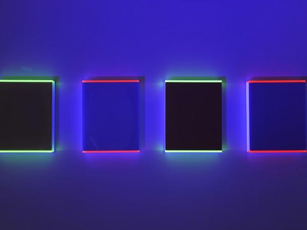 Regine Schumann, Color Pastel Rheinstetten A-D, 2017, vetro acrilico, 38x30x5 cm.