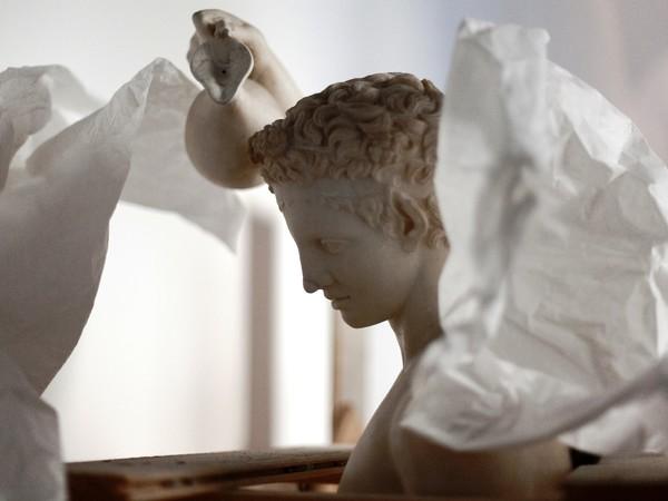 Il Satiro Versante @Iole Carollo. Copia di età romana in marmo dell'originale bronzeo di Prassitele (part.)