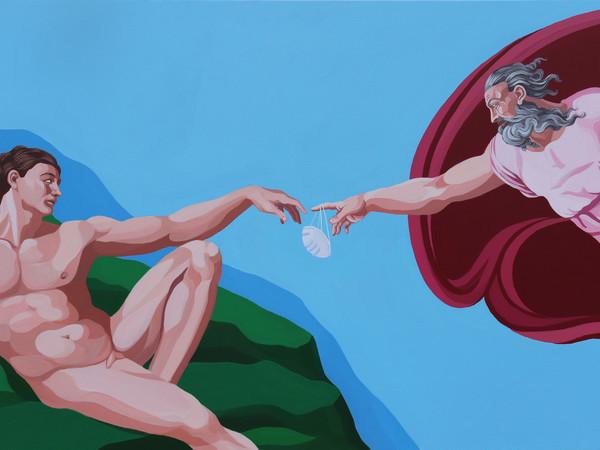 Giuseppe Veneziano, La creazione della mascherina, 2020, acrilico su tela