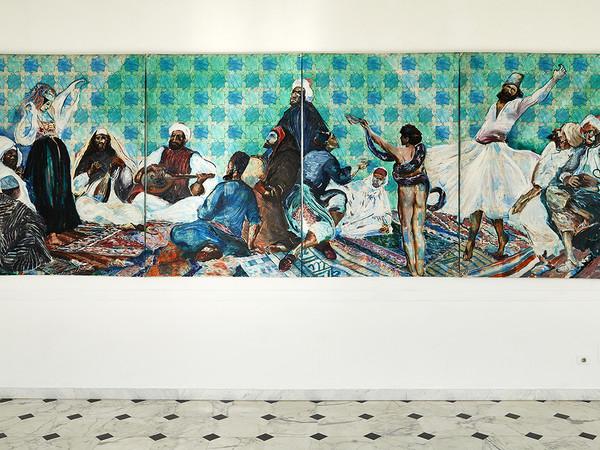 Aldo Mondino, Festa araba, 1985, olio su linoleum, cm. 190x560