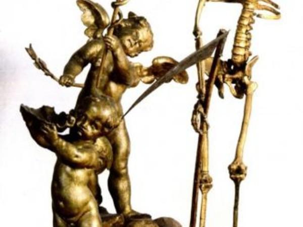 Ambito di Silvestro Giannotti, Statua con la Morte, legno (part.)