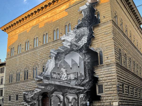 JR, La Ferita, 2021, Firenze, Palazzo Strozzi I Ph. JR