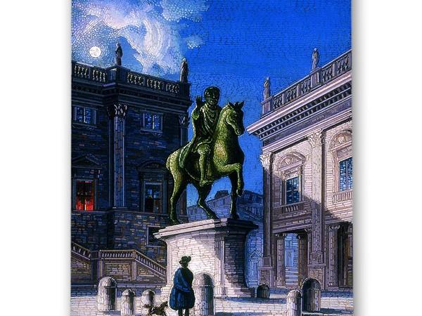 Veduta notturna in piazza del Campidoglio<em>,</em> seconda metà XIX secolo.Collezione Ars Antiqua Savelli