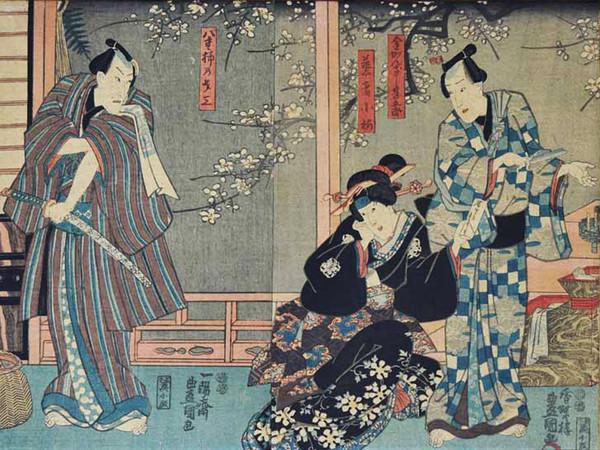 Yoshu Chinkanobu (1838 - 1912), <em>Scena di teatro Kabuki</em>, Xilografia policroma in formato oban, 70 x 35 cm, Firmata <em>Il pennello di Yoshu Chikanobu</em>