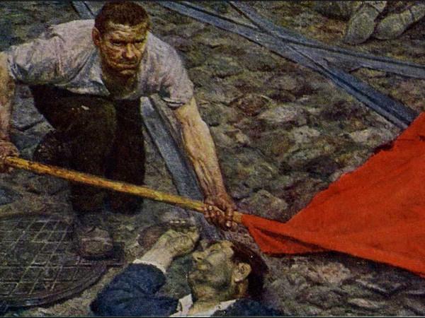 Koržev Gelij Michailovič: «La bandiera si sta sollevando». Parte centrale del trittico «Comunisti», 1960