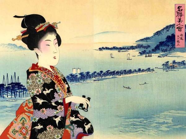 ōshū Chikanobu (1838-1912) Tango Ama no Hashidate, Ama no Hashidate nella provincia di Tango serie Meisho bijin awase, Raffronto di belle donne e luoghi famosi