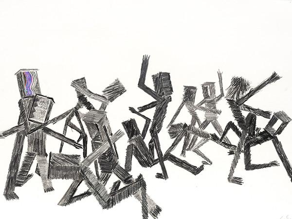 Mario Ceroli, La Rissa, grafite, 2001, cm. 70x100