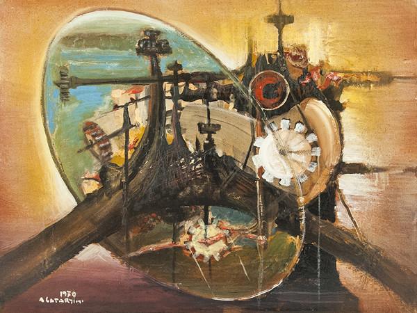 Alfredo Catarsini, Composizione meccanica, olio su tela, 1970, 75x62 cm. Collezione privata