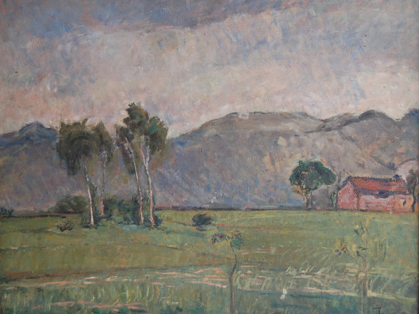 Arturo Tosi, Tre alberi con casolare anni '30, olio su cartone, cm 70x90
