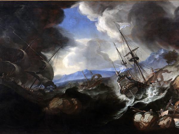 Biagio Poli (Biagio Lombardo?), Tempesta marina, 1650-1680 circa. Olio su tela, 132x213 cm. Mantova, Complesso Museale Palazzo Ducale
