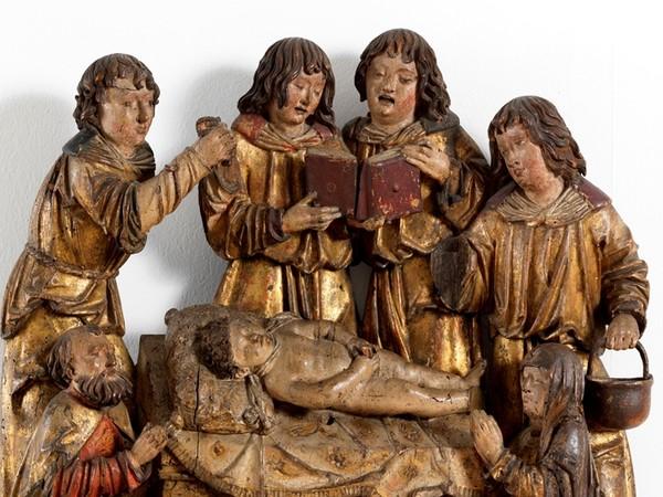 Bottega di Daniel Mauch, Compianto sul corpo morto di Simonino da Trento, primo-secondo decennio del XVI secolo, legno intagliato, dipinto, dorato, collezione privata