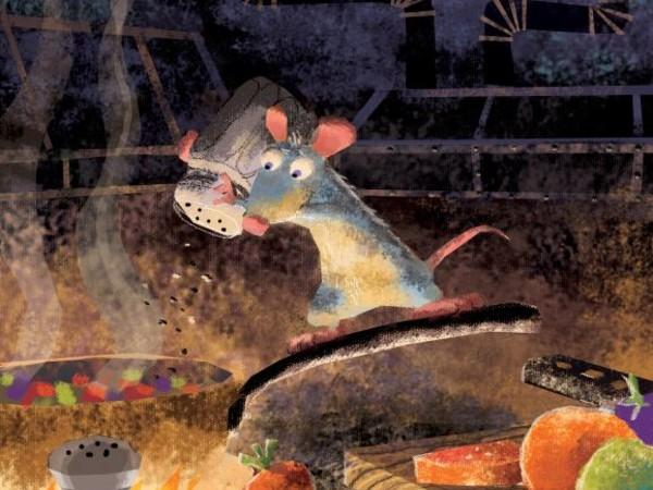 <span>Harley Jessup, layout di Enrico Casarosa, Studio di colorscript: Rémy fa la ratatouille</span><span>| Ratatouille, 2007. Dipinto digitale</span>