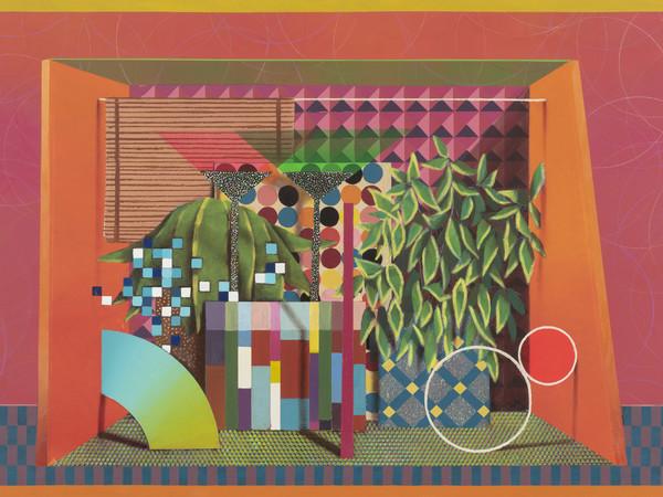 Luca Moscariello, Orange rhapsody, 2018, vernice e olio su legno, cm. 150x100